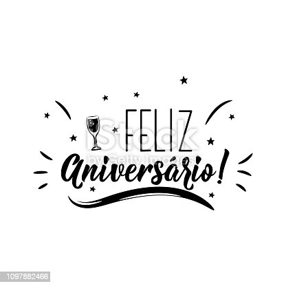 istock Happy Birthday in Portuguese. Ink illustration with hand-drawn lettering. Feliz Aniversario 1097882466