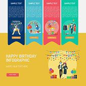 Set of great infographic diagram design illustration concepts for birthday, event, decoration and much more.