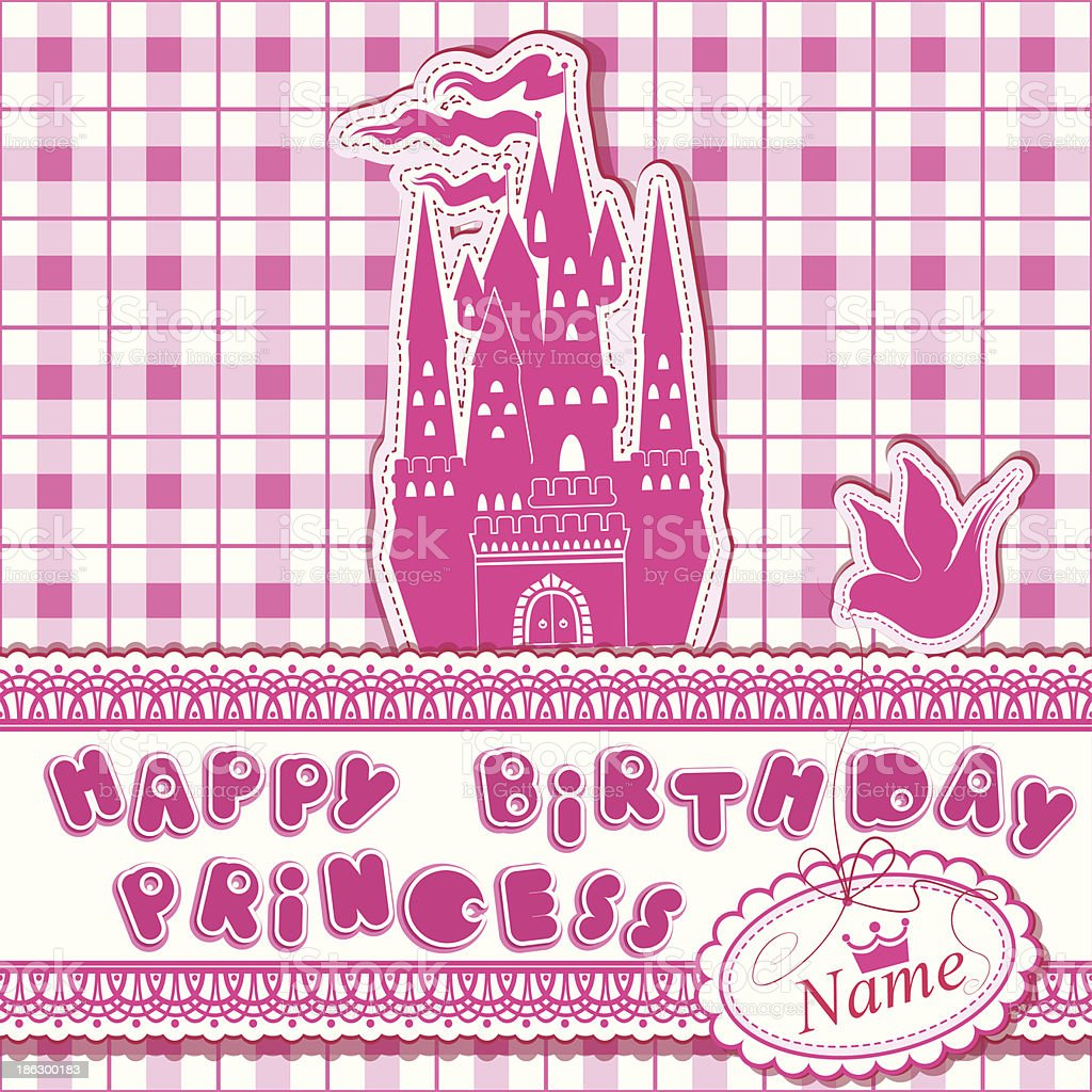 Happy Birthday Invitation Card For Girl With Princess Castle Stock ...