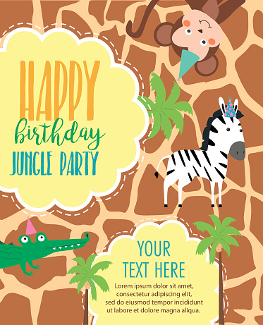Happy Birthday Invitation Card For Safari Africa Party