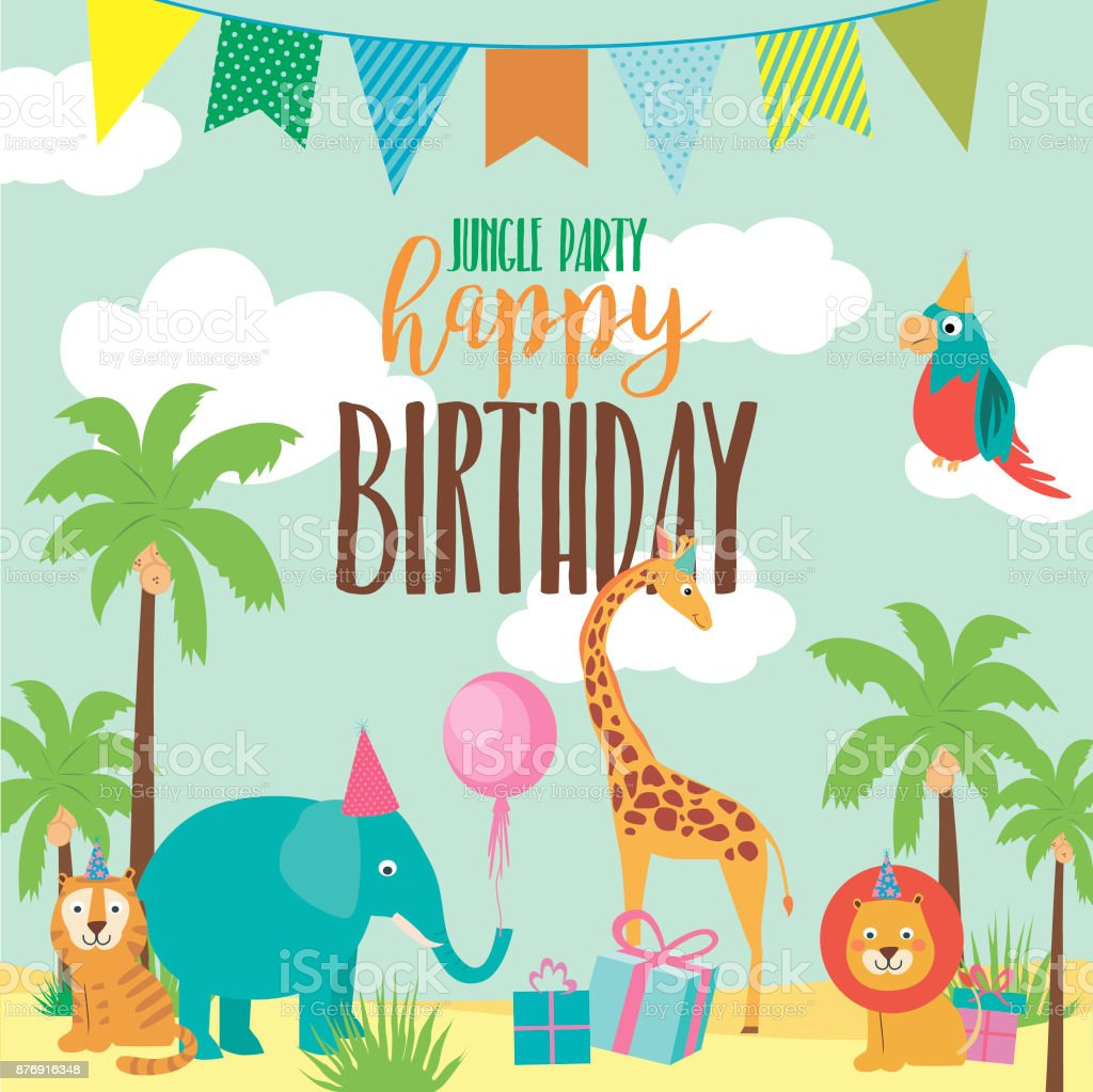Happy Birthday Invitation Card For Safari Africa Party Vector ...