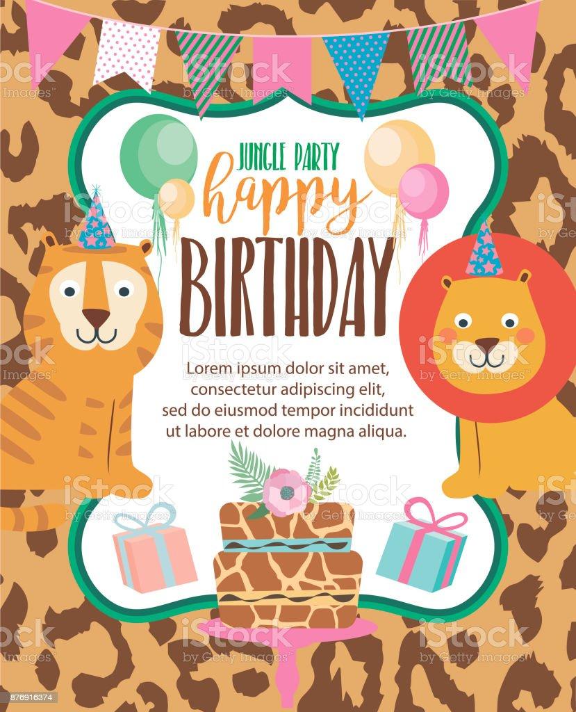 Happy birthday invitation card for safari africa party vector happy birthday invitation card for safari africa party vector illustration download vetor e ilustrao royalty stopboris Gallery