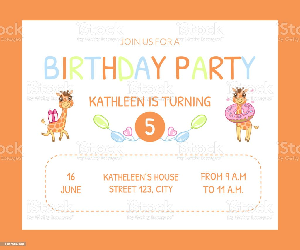 Happy Birthday Invitation Card Template With Cute Animals Number Of Years  And Date Vector Illustration Stock Illustration - Download Image Now -  iStock