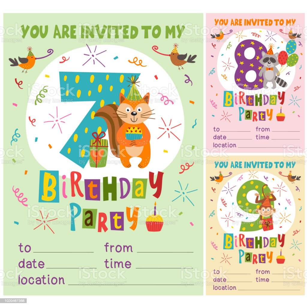 Happy Birthday Invitation Card Template With Funny Animals