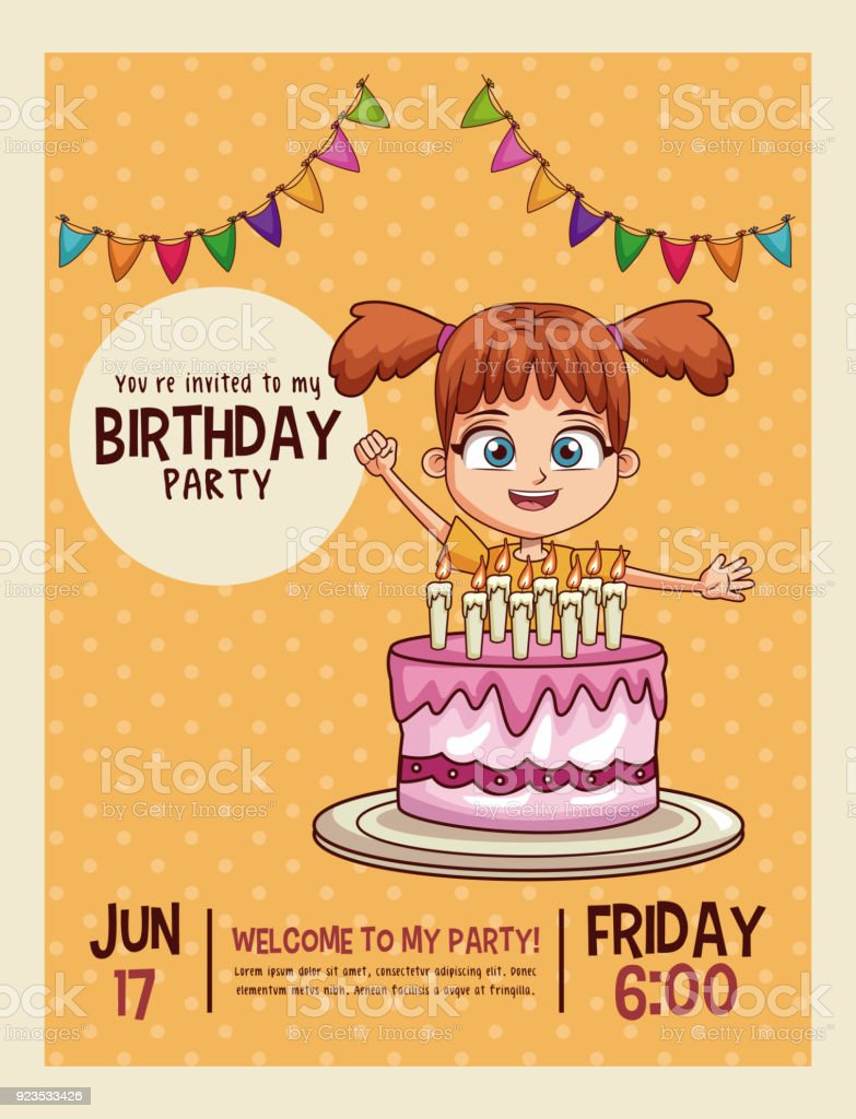 Happy Birthday Invitation Card Stock Illustration Download