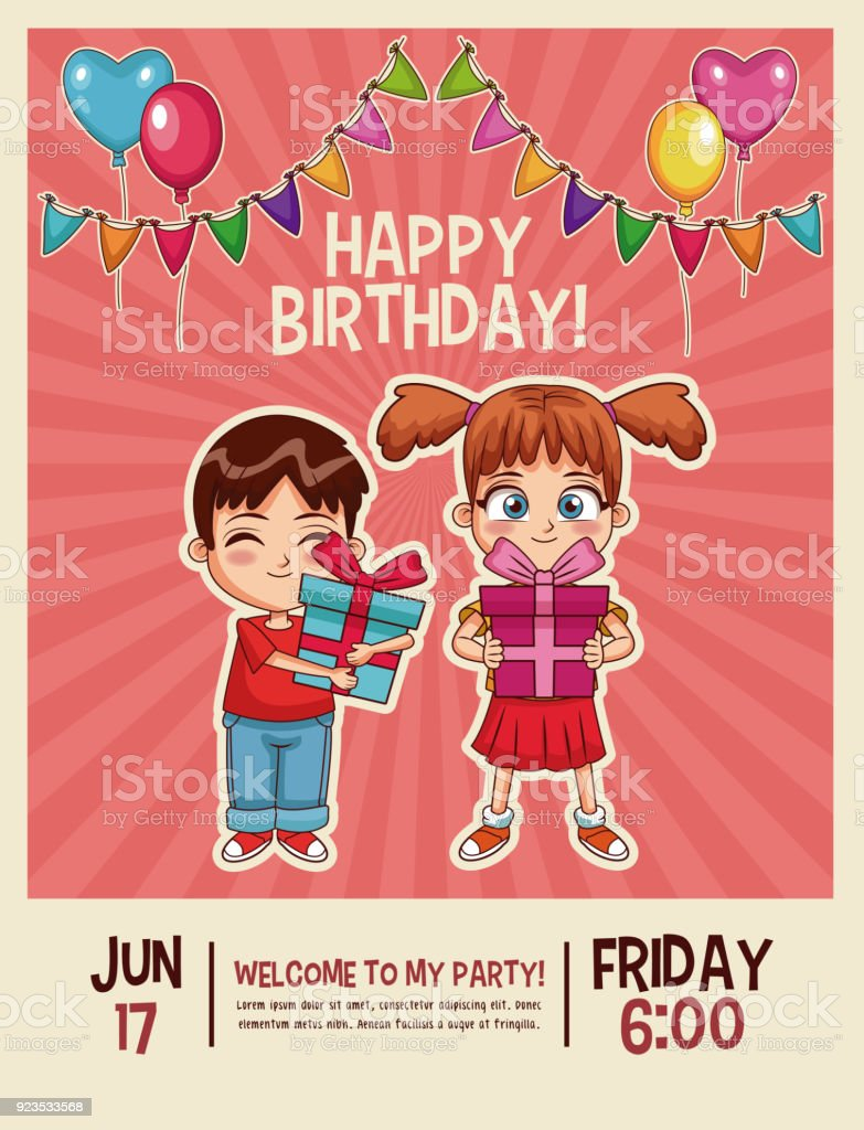 Happy Birthday Invitation Card Stock Vector Art & More Images of ...