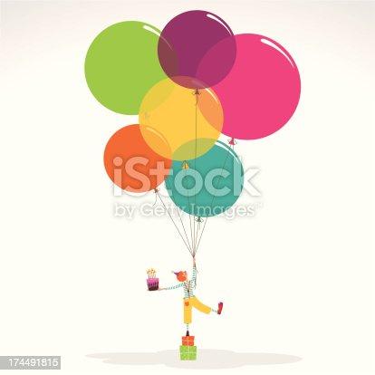 istock Happy birthday invitation clown with ballons cake 174491815