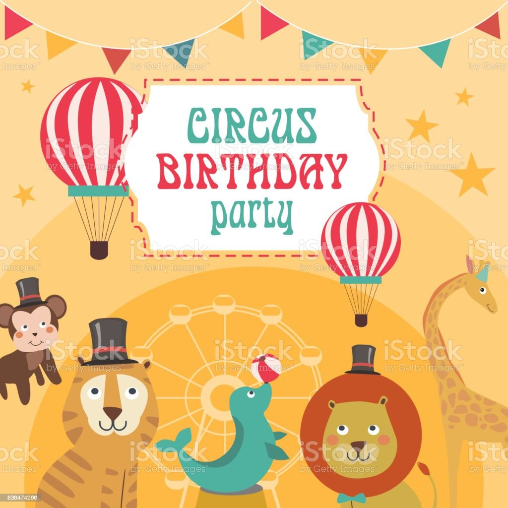 Happy Birthday Invitation For Circus Party Circus Poster stock ...