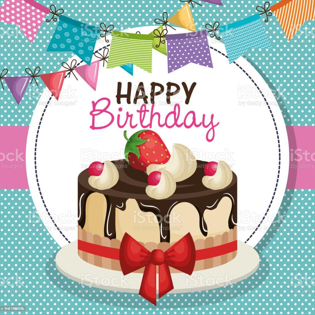 happy birthday invitation with sweet cake stock vector art more