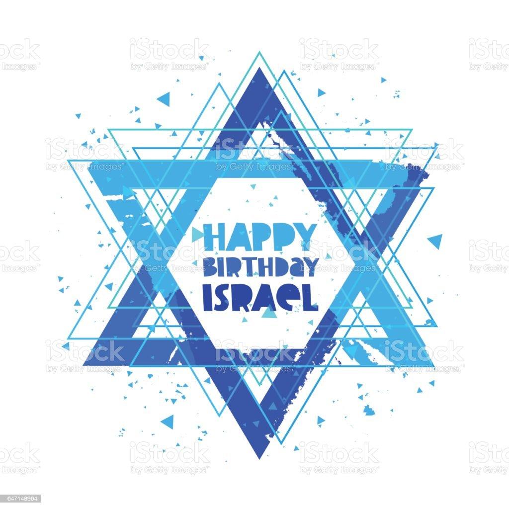 Happy Birthday Israel. Lettering vector art illustration