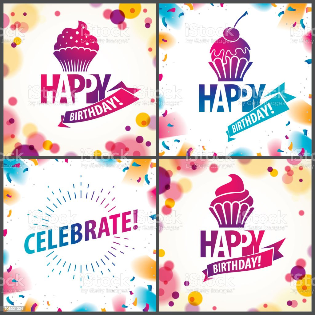 Happy birthday joyful and bright vector greeting cards set includes happy birthday joyful and bright vector greeting cards set includes beautiful lettering and cupcake composition m4hsunfo