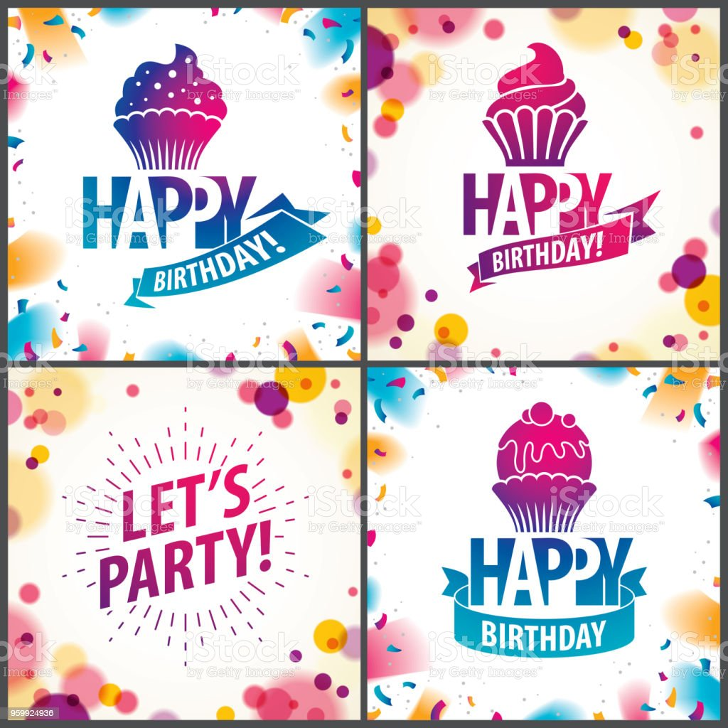 Happy Birthday Joyful And Bright Vector Greeting Cards Set Includes