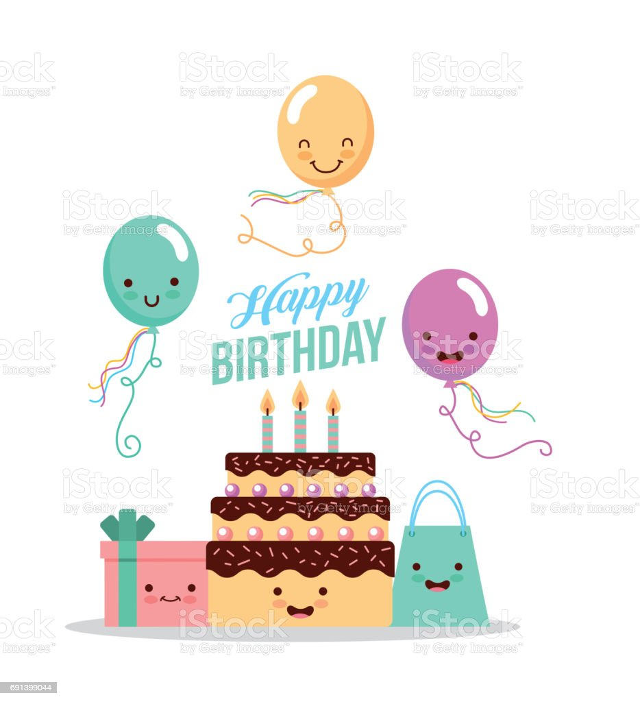 Happy Birthday Kawaii Gifts Stock Vector Art More Images of Animal