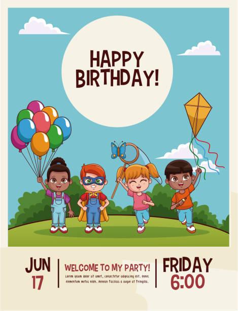 ilustrações, clipart, desenhos animados e ícones de cartão de feliz aniversário crianças - dia das crianças