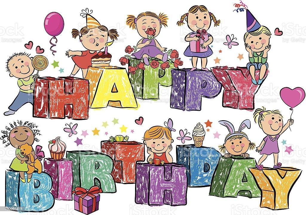 Happy Birthday Kinder Auf Buchstaben Lizenzfreies Stock Vektor Art Und Mehr