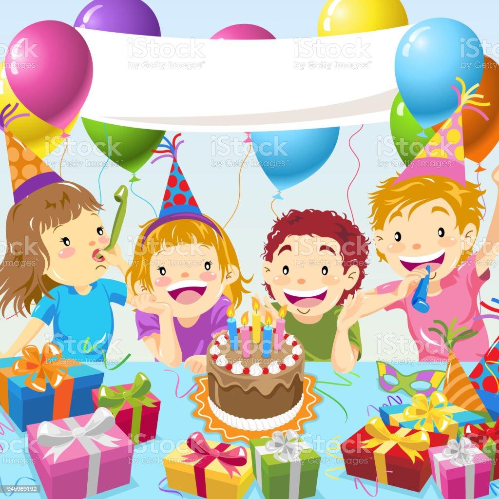 子供の誕生日パーティー 4人のベクターアート素材や画像を多数ご用意