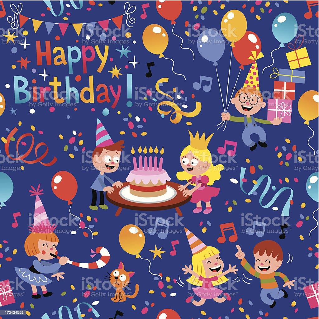 Happy Birthday kids pattern royalty-free stock vector art