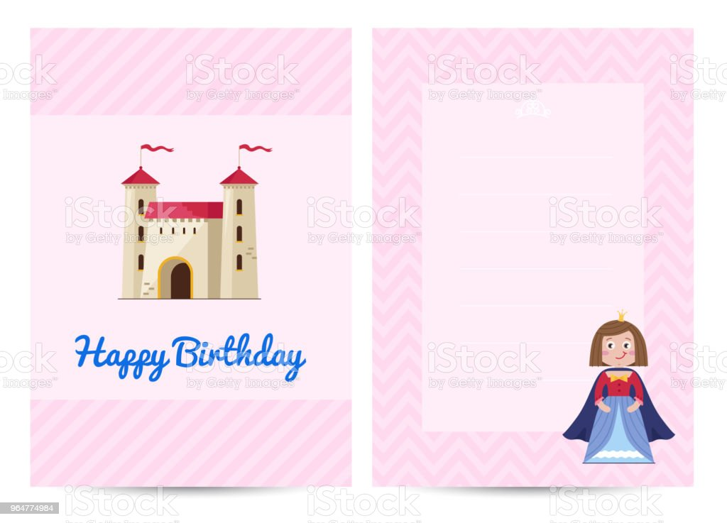 Happy birthday kids postcard with princess royalty-free happy birthday kids postcard with princess stock illustration - download image now