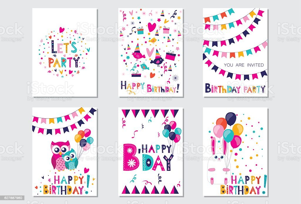 Happy Birthday. Let's party vector art illustration
