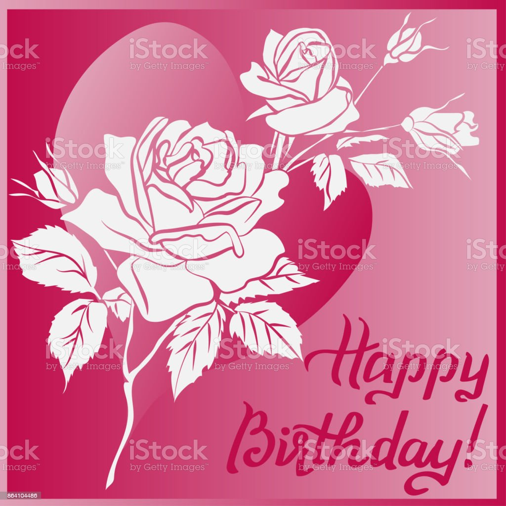 Happy Birthday lettering and rose on purple background royalty-free happy birthday lettering and rose on purple background stock vector art & more images of abstract