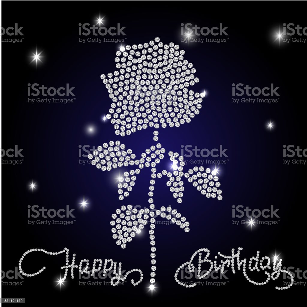 Happy Birthday lettering and rose. royalty-free happy birthday lettering and rose stock vector art & more images of abstract