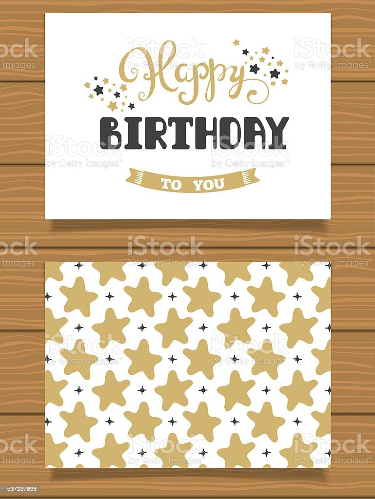 Happy Birthday. Lettering greeting card and its reverse side vector art illustration