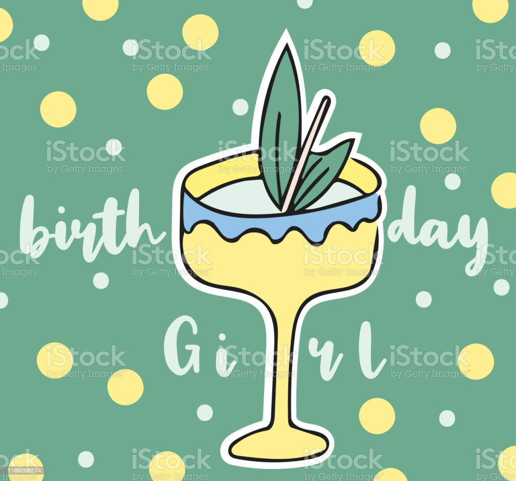 Happy Birthday Lettering Greeting Card With Cocktail Stock Illustration Download Image Now Istock
