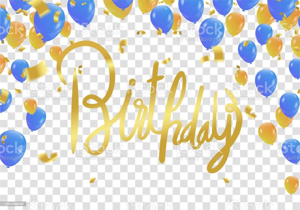 Happy Birthday Lettering Hand Drawn Invitation Design Confetti And Gift Box  Design Template For Birthday Celebration Stock Illustration - Download
