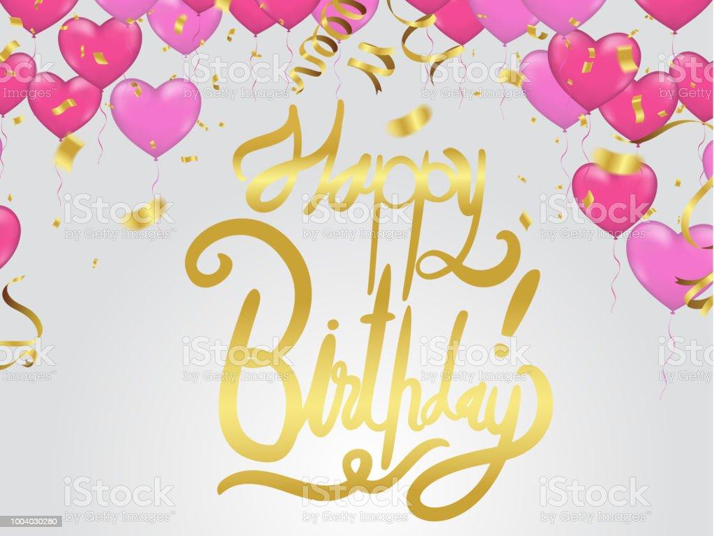 Happy Birthday Lettering Hand Drawn Invitation Design Confetti And ...