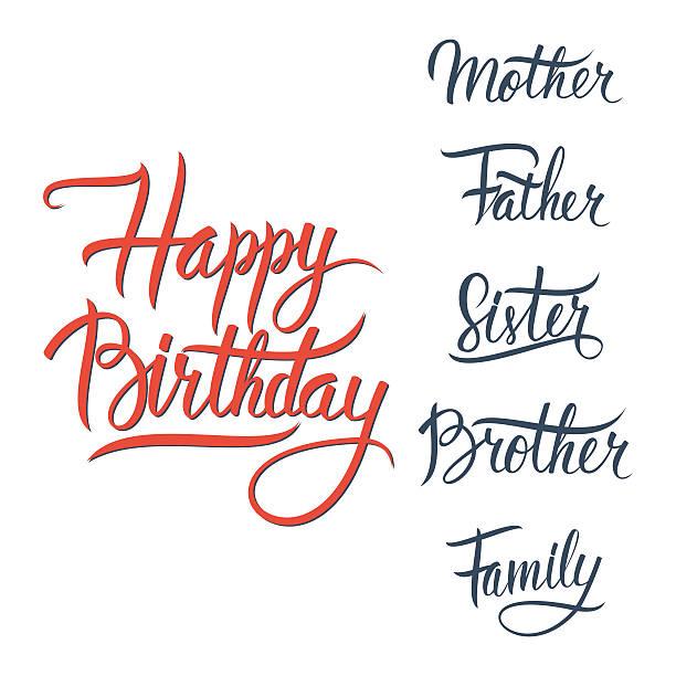ilustrações, clipart, desenhos animados e ícones de feliz aniversário dizeres placa sobre fundo branco. - irmã