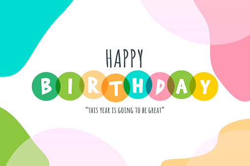 Happy Birthday lettering stock illustration with abstract backround
