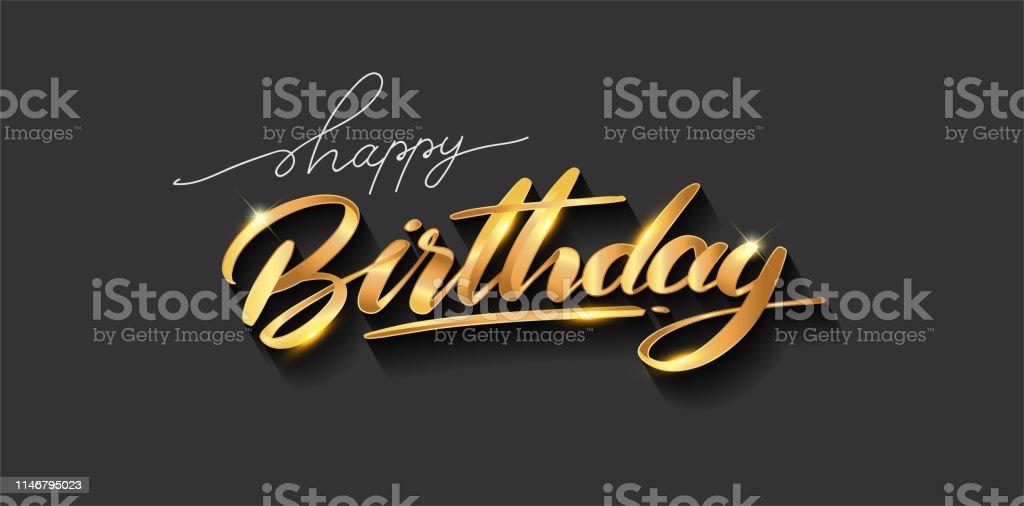 Happy Birthday lettering text banner, gold color. elegant design,...