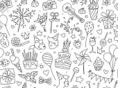 Happy Birthday lettering thin line seamless pattern festive background. Congratulations wishes vector illustration. B-day party kids boys girls clipart. Anniversary celebration greeting card template