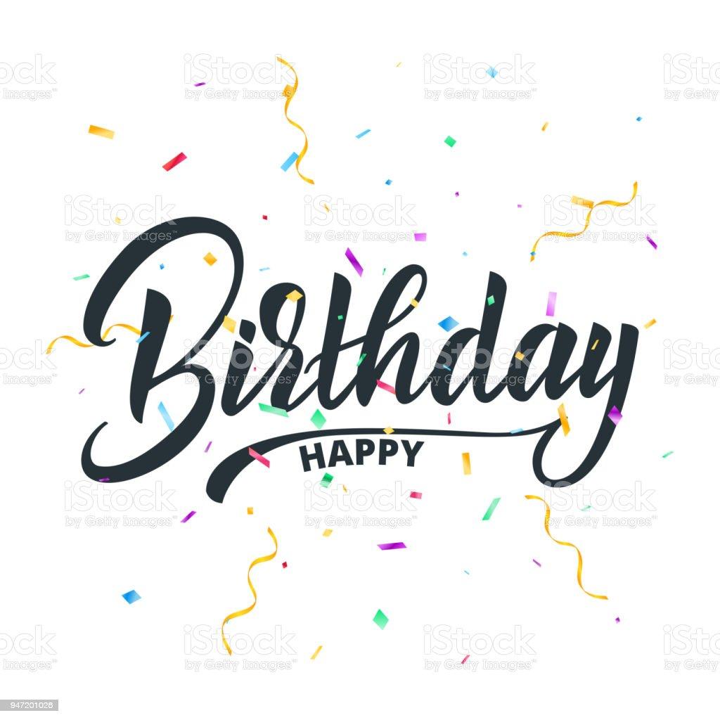 Ilustración De Feliz Cumpleaños Letras Tipografía Para