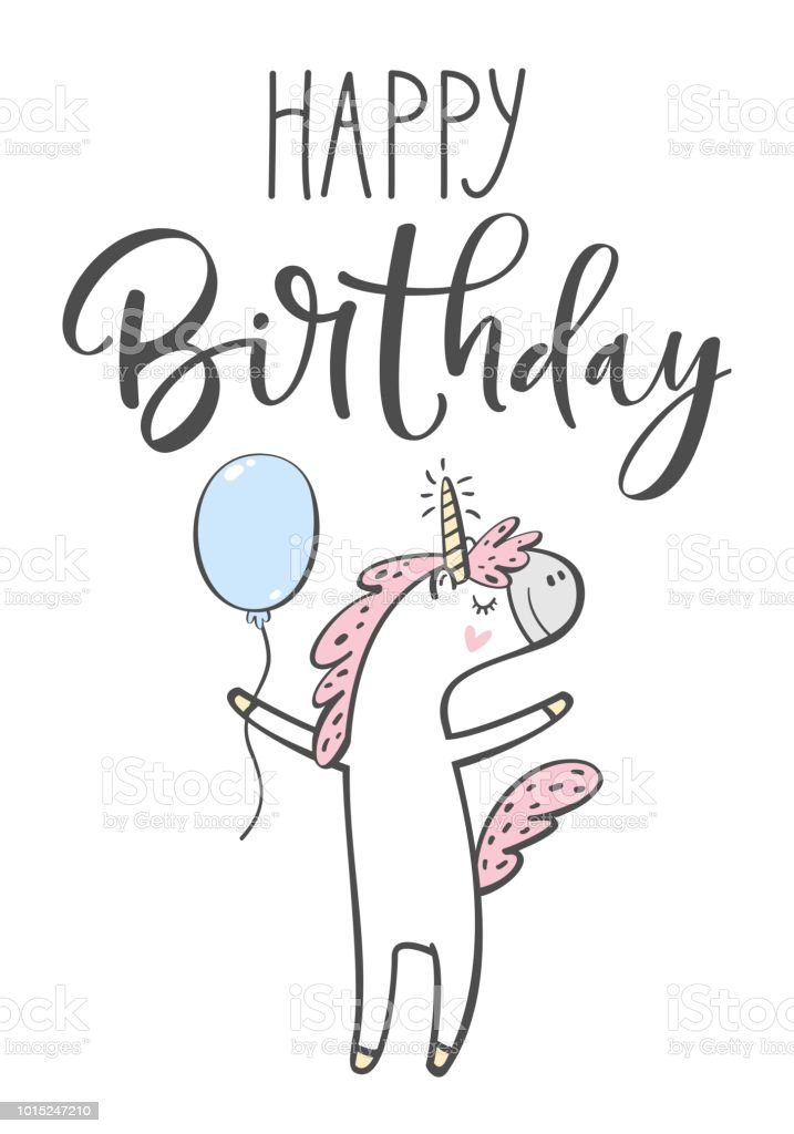 Happy Birthday Lettering Unicorn And Balloon Isolated Vector