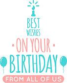 Happy birthday lettering.