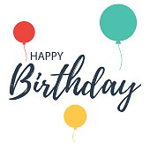 Happy Birthday, lettering with balloons. Vector Illustration design for greeting cards isolated on white background