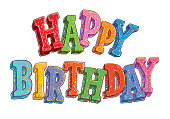 Happy Birthday hand-drawn colorful letters.
