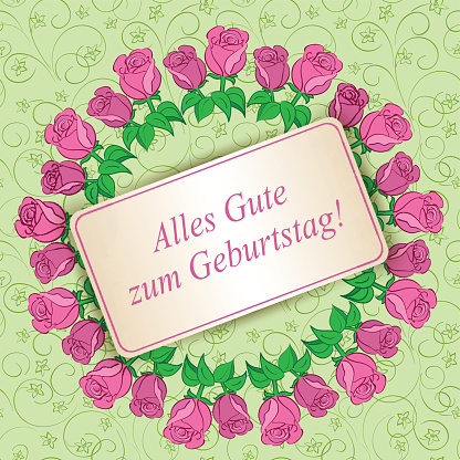 Happy birthday - light green floral background with roses