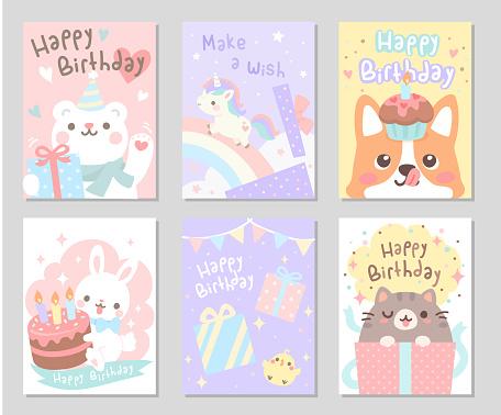Happy Birthday Little Friends set - Rectangle