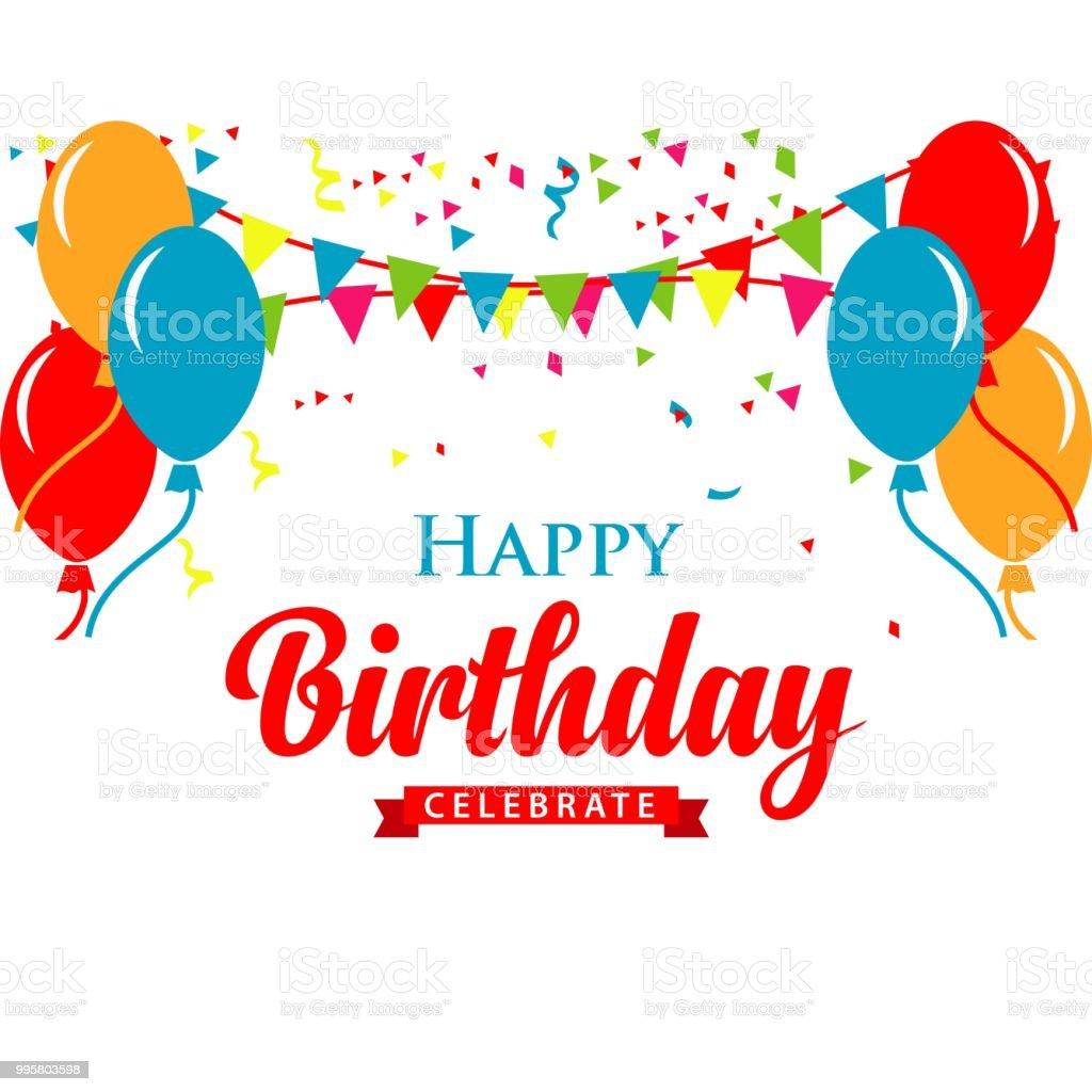 Happy Birthday Logo Vector Template Design Illustration - Illustration .