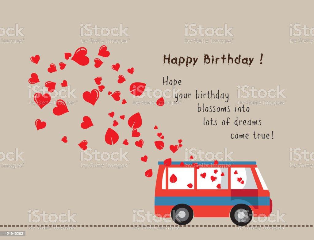 Joyeux Anniversaire Amour Bus Avec Cœur Vecteurs Libres De Droits Et