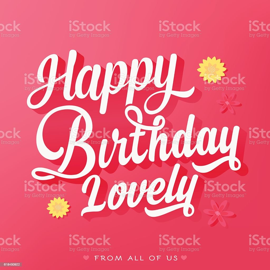 Happy Birthday Lovely Birthday Card Pint Background With Flowers – Lovely Birthday Greetings