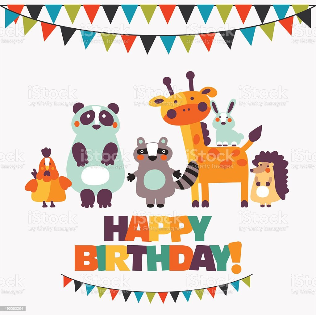 Happy Birthday Lovely Card With Funny Animals In Bright