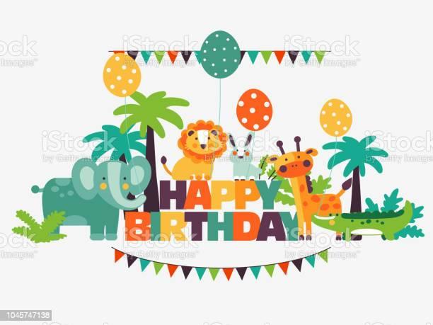 Happy birthday lovely card with funny cute animals and balloons vector id1045747138?b=1&k=6&m=1045747138&s=612x612&h=ddd541ukizmnaktrqw42co8r5lpiidyvrv6gnquty5y=