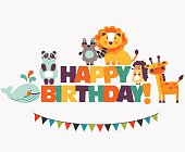 Happy birthday - lovely vector card with funny cute animals and garland. Modern vector style. Ideal for cards, logo, invitations, party, banners, kindergarten, preschool and children room decoration