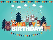 Happy birthday - lovely vector card with funny cute animals and garlands. Modern vector style. Ideal for cards, invitations, party, banners, kindergarten, preschool and children room decoration