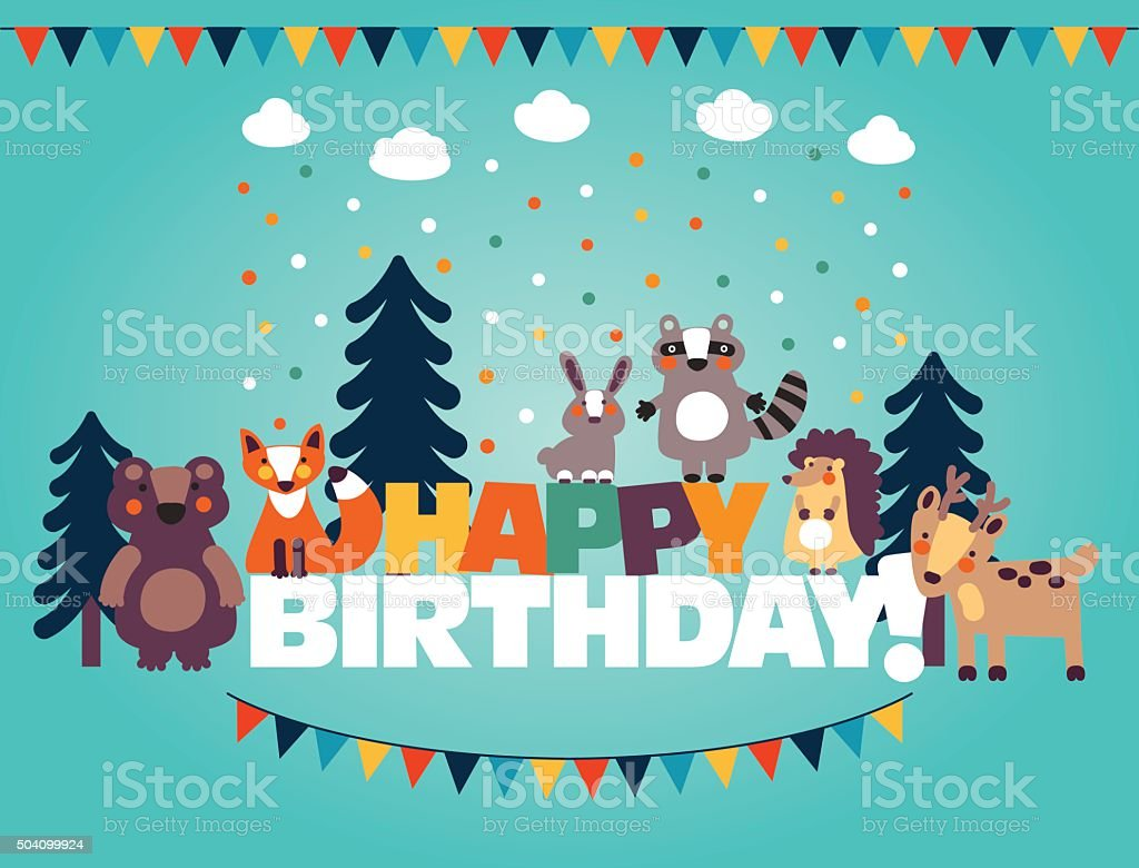 Happy birthday, lovely card with funny cute animals and garlands向量藝術插圖