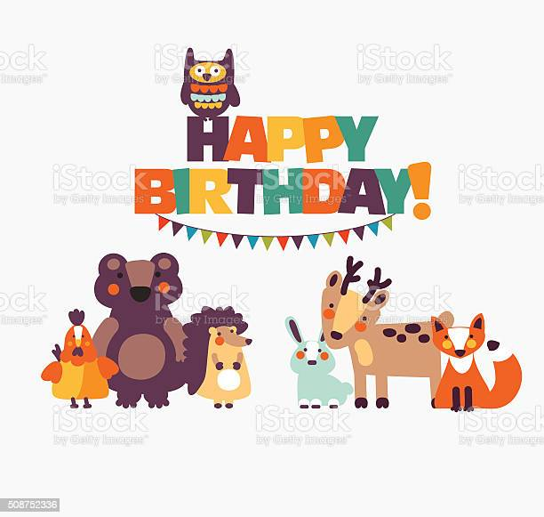Happy birthday lovely card with funny cute animals and garlands vector id508752336?b=1&k=6&m=508752336&s=612x612&h=tdt3vfnmjahx1mbxhffpeniywf9lpogtyb4iwwvx7li=
