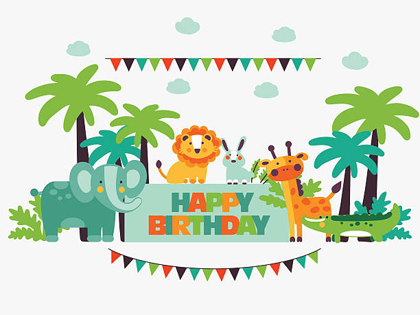 stockillustraties, clipart, cartoons en iconen met happy birthday. lovely card with funny cute animals and garlands - safaridieren